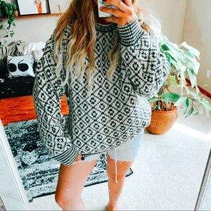Oversized chunky baggy geometric boho sweater p1